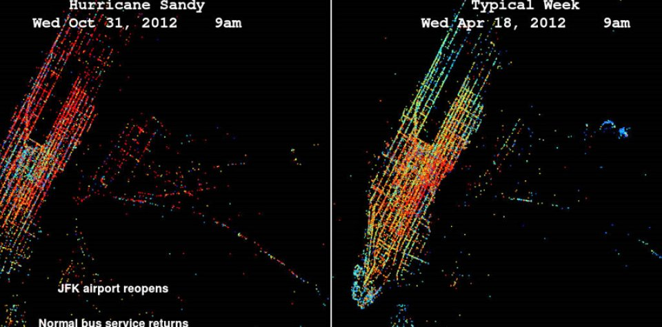 New York Taxi Service GPS System Used To Analyze Hurricane Sandy Traffic Impact